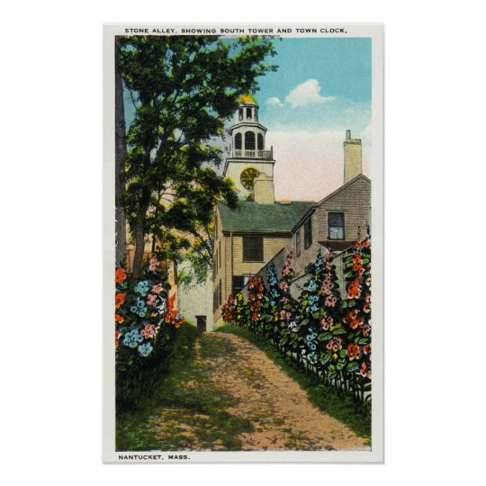 Stone Alley View of South Tower and Town Clock Poster