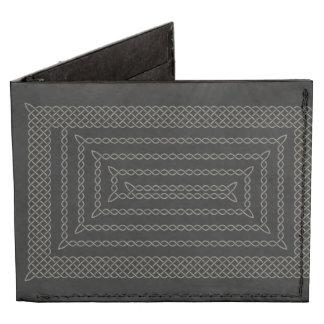 Stone And Black Celtic Rectangular Spiral Billfold Wallet