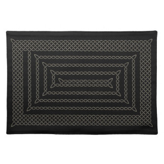 Stone And Black Celtic Rectangular Spiral Place Mat
