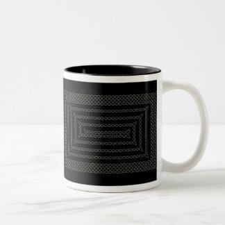 Stone And Black Celtic Rectangular Spiral Two-Tone Coffee Mug