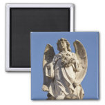 Stone Angel Looking Down Statue in Buenos Aires 2 Inch Square Magnet