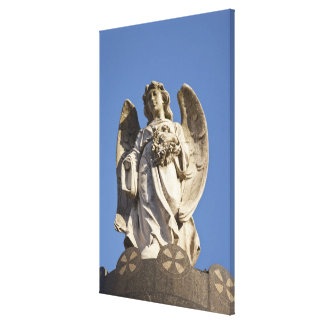 Stone Angel Looking Down Statue in Buenos Aires Canvas Print