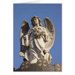 Stone Angel Looking Down Statue in Buenos Aires Card