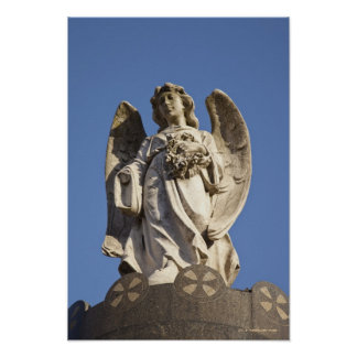 Stone Angel Looking Down Statue in Buenos Aires Poster