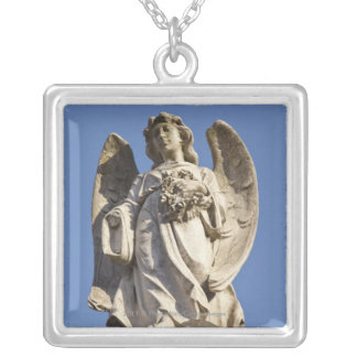 Stone Angel Looking Down Statue in Buenos Aires Silver Plated Necklace