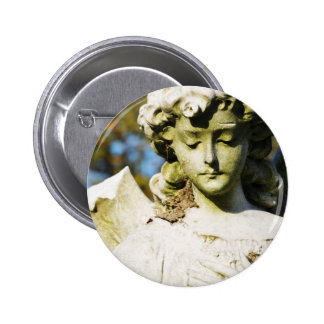 Stone angel pinback button