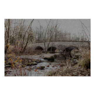 Stone Arch Bridge in Winter - Happy Holidays Poster