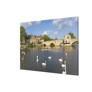 Stone arched bridge and River Ouse, St Ives, Canvas Print