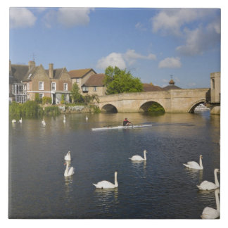 Stone arched bridge and River Ouse, St Ives, Ceramic Tile