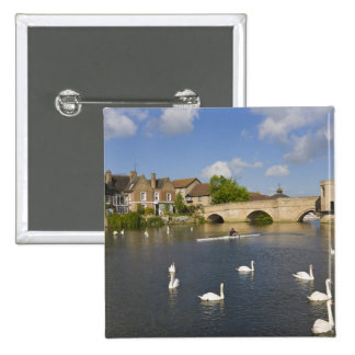 Stone arched bridge and River Ouse, St Ives, Pinback Button