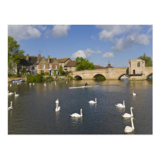 Stone arched bridge and River Ouse, St Ives, Postcard