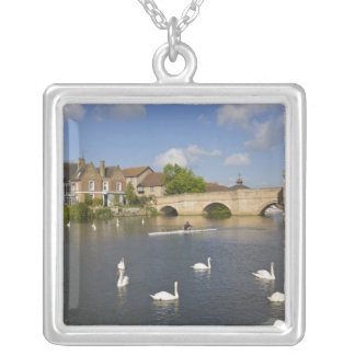 Stone arched bridge and River Ouse, St Ives, Square Pendant Necklace