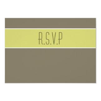 Stone avocado green wedding rsvp response 5x7 paper invitation card