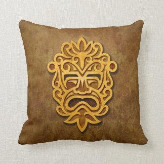 Stone Aztec Mask Throw Pillow
