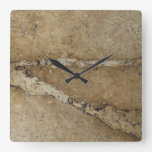 Stone Background - Marble Travertine Rock Template Square Wallclock