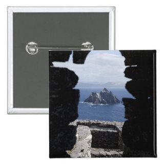 Stone Beehive Monk Huts Clochanson Skellig Michael Pinback Button