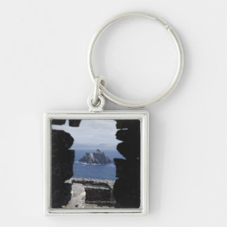 Stone Beehive Monk Huts Clochanson Skellig Michael Silver-Colored Square Keychain