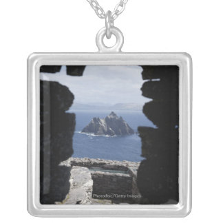 Stone Beehive Monk Huts Clochanson Skellig Michael Silver Plated Necklace