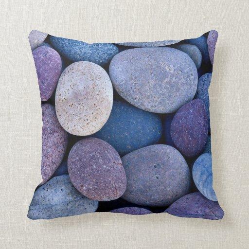 Stone blue rocks throw pillows