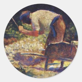 Stone-Breaker With Wheelbarrow By Seurat Georges Stickers