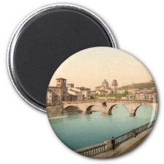 Stone Bridge and San Giorgio, Verona, Italy 2 Inch Round Magnet