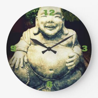 Stone Buddha Belly Ornament Round Wallclock