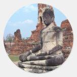 Stone Buddha Round Stickers