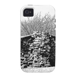 Stone Cabin in Black and White Vibe iPhone 4 Cover