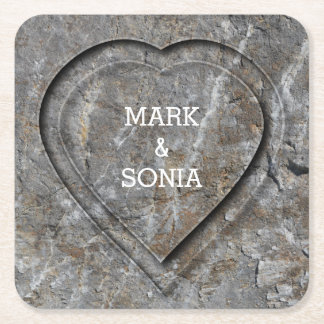 Stone carved heart Bride and Groom Square Paper Coaster
