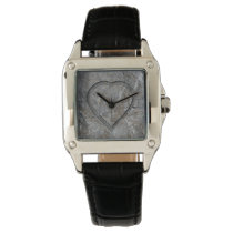 Stone carved heart Bride and Groom Wristwatch