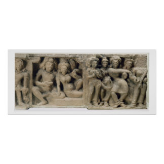Stone carving of lovers enjoying a dance performan poster