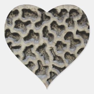 Stone Carving Pattern Heart Sticker
