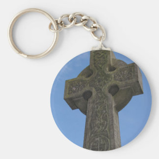 Stone celtic cross basic round button keychain