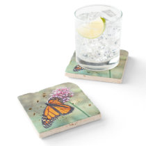 STONE COASTER, MONARCH BUTTERFLY ON FLOWER STONE COASTER