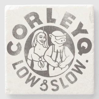 Stone Coaster with CorleyQ logo
