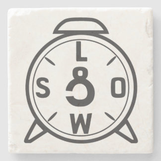 """Stone Coaster with CorleyQ """"Low & Slow"""" clock."""