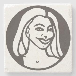 Stone coaster with Q-Tea-Pie logo.