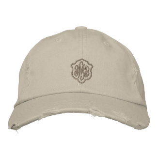 Stone Colored Ladies Distressed Monogrammed Cap