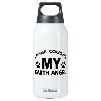 stone cougar  cat design insulated water bottle