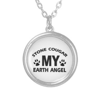 STONE COUGAR CAT SILVER PLATED NECKLACE