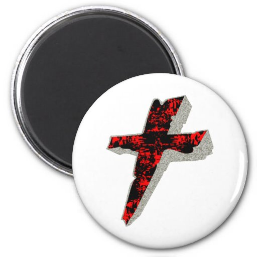 Stone Cross 2 Inch Round Magnet