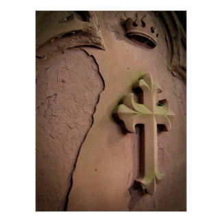 Stone Cross gravestone Poster