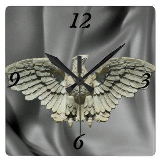 Stone Eagle Sculpture Square Wall Clock