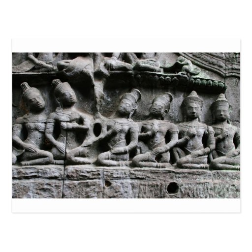 stone figures at ta prohm post card
