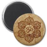Stone Floral Aum Design 2 Inch Round Magnet