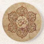 Stone Floral Aum Design Beverage Coaster
