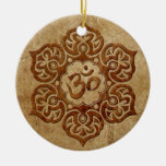 Stone Floral Aum Design Double-Sided Ceramic Round Christmas Ornament