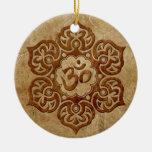 Stone Floral Aum Design Round Ceramic Ornament
