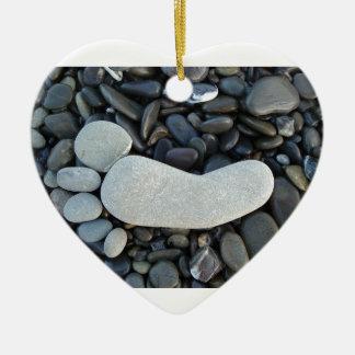 Stone Footprint Ceramic Ornament