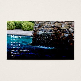 stone fountain in an in-ground pool business card